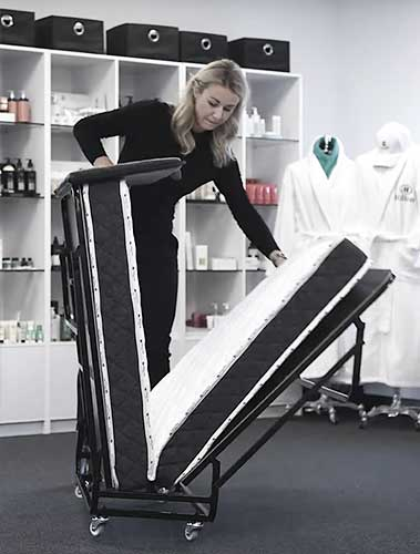 Unfolding the Edward® Rollaway Folding Bed from Bed & Bath, Inc. | A family owned company specializing in Rollaway Folding Beds & Guest Products